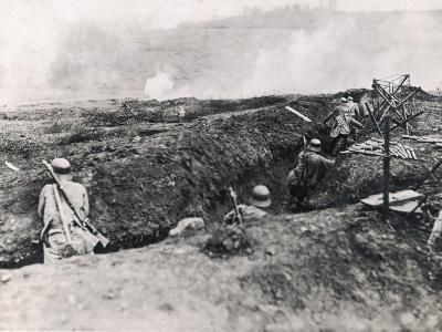 Action on the Western Front Photographed from German Trenches--Photographic Print