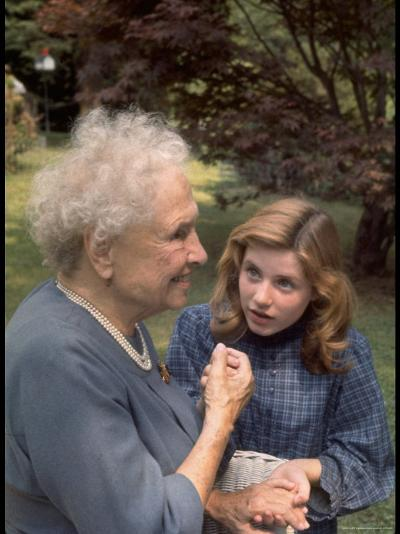 """Activist for the Disabled, Helen Keller, Meeting Actress Patty Duke in """"The Miracle Worker""""-Nina Leen-Premium Photographic Print"""