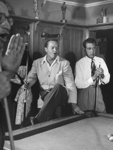 Actor Bob Hope and Vic Hewter Playing Pool Together