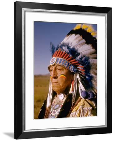 """Actor Dressed as American Indian Chief For Role in Motion Picture """"Around the World in 80 Days""""-Gjon Mili-Framed Photographic Print"""