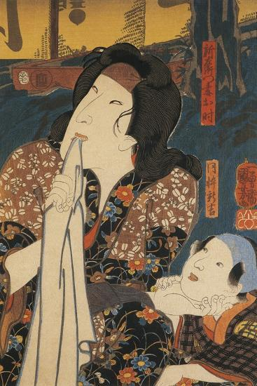 Actor in Pensive Pose Beside Child-Utagawa Toyokuni-Giclee Print
