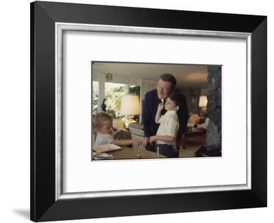 Actor John Wayne at Home with His Son Ethan and Daughter-John Dominis-Framed Premium Photographic Print