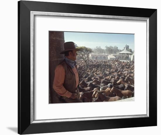 """Actor John Wayne During Filming of Western Movie """"The Undefeated""""-John Dominis-Framed Premium Photographic Print"""