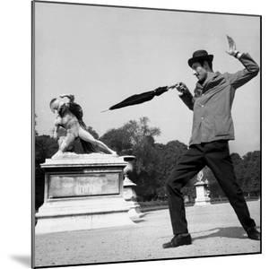 Actor Jose Pantieri Clowning around in Tuileries Gardens, Paris, 1962