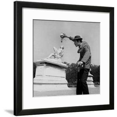 Actor Jose Pantieri Clowning around in Tuileries Gardens, Paris, 1962--Framed Photo