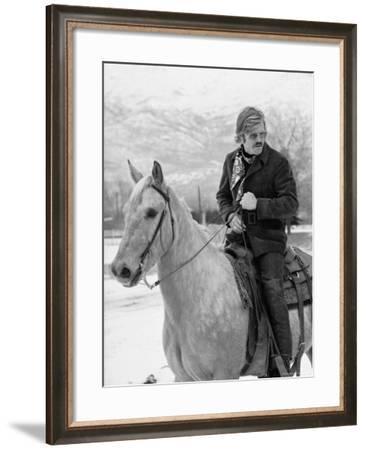 Actor Robert Redford Horseback Riding-John Dominis-Framed Premium Photographic Print