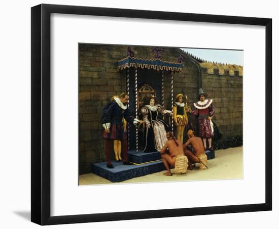 Actors Perform a Scene from a Play About the Lost Colony-Jack Fletcher-Framed Photographic Print