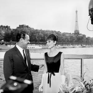 "Actors William Holden and Audrey Hepburn on the Set of the Film ""Paris When it Sizzles"", Paris"