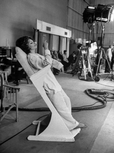 """Actres Sophia Loren, Resting Between Takes on Set of """"A Countess from Hong Kong,"""" Pinewood Studios-Alfred Eisenstaedt-Premium Photographic Print"""