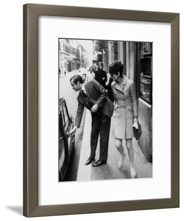 Actress Audrey Hepburn Having Car Door Opened by Psychiatrist Husband Andrea Dotti
