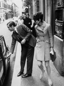 Actress Audrey Hepburn Having Car Door Opened by Psychiatrist Husband Andrea Dotti