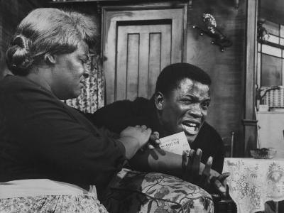 """Actress Claudia Mcneil and Actor Sidney Poitier in a Scene from the Play """"A Raisin in the Sun""""--Premium Photographic Print"""