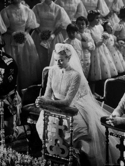 Actress Grace Kelly in Gorgeous Wedding Gown Praying During Her Wedding to Prince Rainier-Thomas D^ Mcavoy-Premium Photographic Print