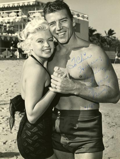 Actress Jayne Mansfield and Her Husband Mickey Hargitay Embracing on Miami Beach, 1958.--Photographic Print