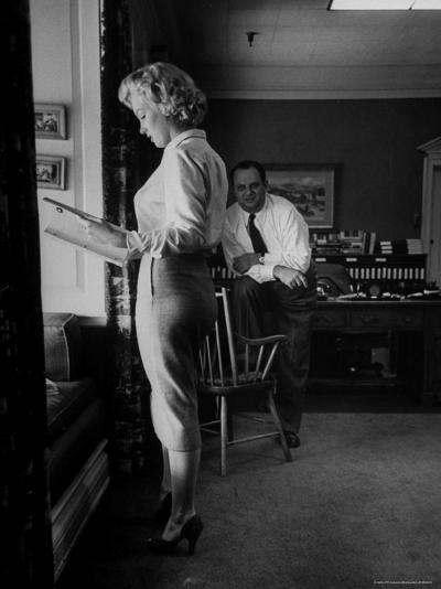 """Actress Marilyn Monroe Looking over Script for Clifford Odets Movie """"Clash by Night""""-Bob Landry-Premium Photographic Print"""