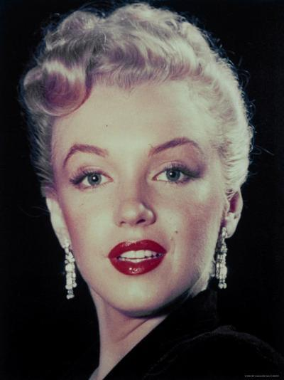 Actress Marilyn Monroe Wearing Dangling Rhinestone Earrings, with Her Hair Up-Ed Clark-Premium Photographic Print