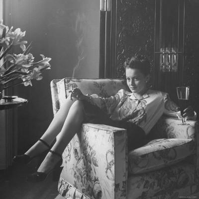 Actress Olivia de Havilland with Cigarette and Glass of Beer in While Relaxing at Home-Bob Landry-Premium Photographic Print