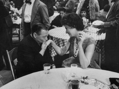 Actress Sophia Loren Attending Party at Table with Petere Lorre-Ralph Crane-Premium Photographic Print