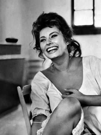 Canvas Sophia Loren Lauging Art print POSTER Kirk Douglas