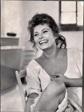 Actress Sophia Loren Laughing While Exchanging Jokes During Lunch Break on Madame Movie Set-Alfred Eisenstaedt-Premium Photographic Print