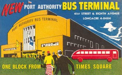 Ad for Port Authority Bus Terminal, New York City