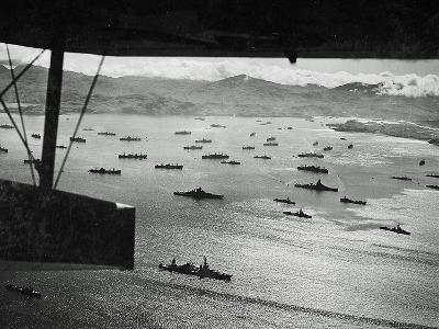 Adak Harbor in the Aleutian Islands with Part of a Huge U.S. Fleet at Anchor--Photographic Print