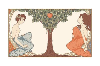 Adam and Eve, Art-Nouveau Style-drakonova-Art Print