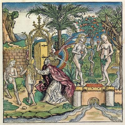 Adam and Eve Being Banished from Eden, Published in the Nuremberg Chronicle, 1493--Giclee Print