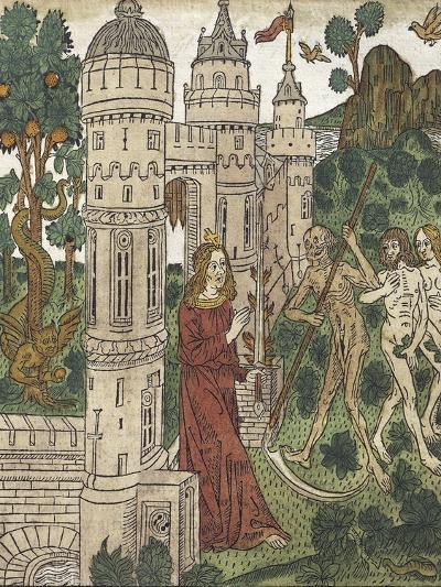 Adam and Eve Being Expelled from Paradise and Killed with a Scythe, from De Civitate Dei--Giclee Print