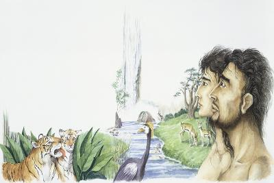 Adam and Eve in Garden of Eden--Giclee Print