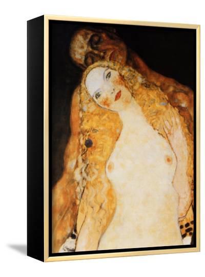 Adam and Eve-Gustav Klimt-Framed Canvas Print
