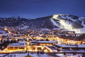 Winter Cityscape of Park City Mountain Resort and Deer Valley Resort, Utah by Adam Barker