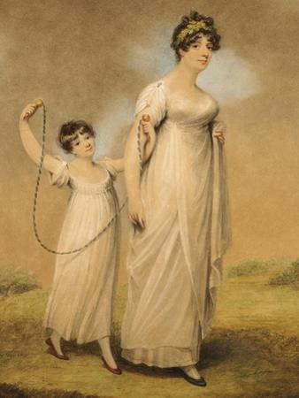 Portrait of a Mother and Her Daughter, in White Dresses, the Daughter with a Skipping Rope
