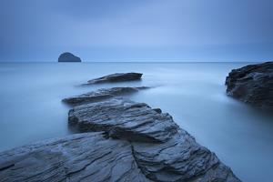 Atmospheric Trebarwith Strand on a Moody Evening, North Cornwall, England. Summer (June) by Adam Burton