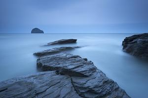 Atmospheric Trebarwith Strand on a Moody Evening, North Cornwall, England. Summer (June) by Adam Burton