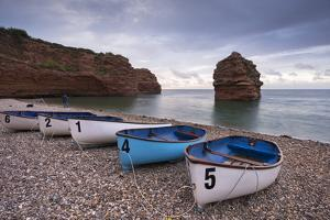 Boats Pulled Up on the Shingle at Ladram Bay on the Jurassic Coast, Devon, England by Adam Burton