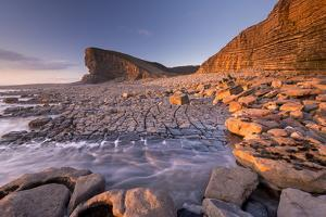Dramatic coastal geology at Nash Point on the Glamorgan Heritage Coast, South Wales, UK. Winter (Fe by Adam Burton