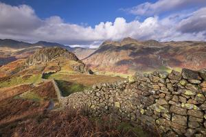 Drystone Wall Near the Langdale Valley in the Lake District, Cumbria, England. Autumn (November) by Adam Burton