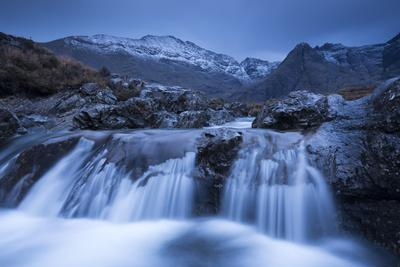Fairy Pools Waterfalls at Glen Brittle, with the Snow Dusted Cuillin Mountains Beyond, Isle of Skye