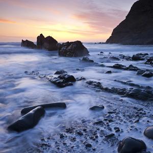 High Tide on Duckpool Beach at Sunset, North Cornwall, England. Spring by Adam Burton