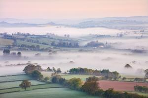 Mist Covered Countryside at Dawn Near Pennorth, Brecon Beacons National Park, Powys, Wales. Spring by Adam Burton