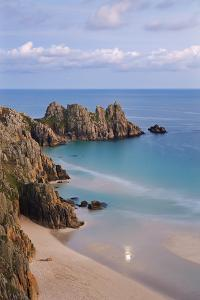 Pednvounder Beach and Logan Rock from the Clifftops Near Treen, Porthcurno, Cornwall by Adam Burton