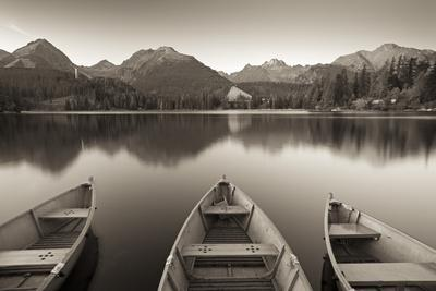 Rowing Boats and Mountains Beneath a Twilight Sky, Strbske Pleso Lake in the High Tatras, Slovakia