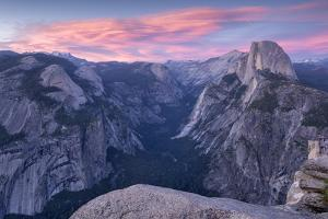 Sunset above Yosemite Valley and Half Dome, viewed from Glacier Point, Yosemite, California, USA. S by Adam Burton