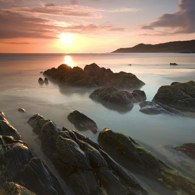 Sunset on Barricane Beach, Woolacombe, Devon, England. Summer