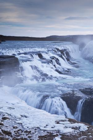 Thundering Gullfoss Waterfall in Winter Time, Iceland, Europe. Winter (January)