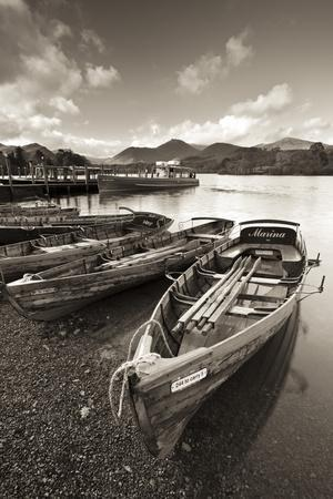 Wooden Rowing Boats on Derwent Water, Keswick, Lake District, Cumbria, England. Autumn