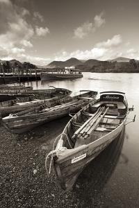 Wooden Rowing Boats on Derwent Water, Keswick, Lake District, Cumbria, England. Autumn by Adam Burton