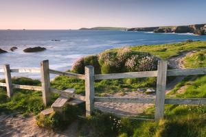Wooden Stile on Clifftops, South West Coast Path Long Distance Footpath, Cornwall by Adam Burton