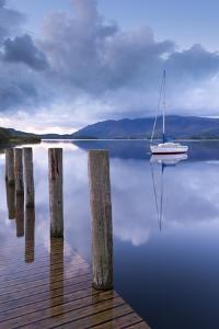 Yacht Moored Near Lodore Boat Launch on Derwent Water, Lake District, Cumbria by Adam Burton